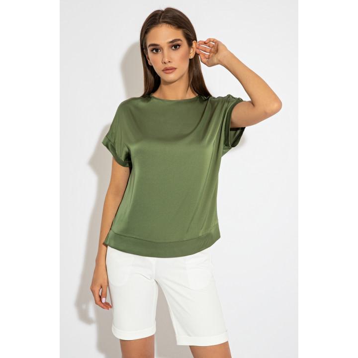 Зеленая блуза с коротким рукавом 8210