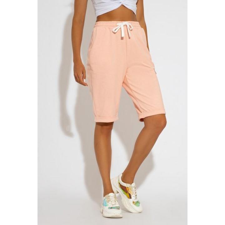 Летние спортивные шорты-бермуды розового цвета Симон 4169