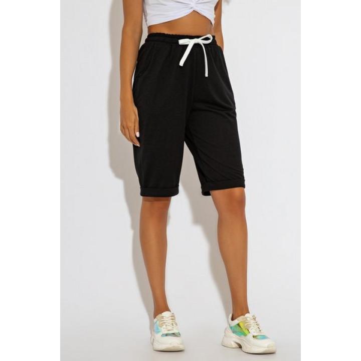 Летние черные спортивные шорты-бермуды Симонет 4172